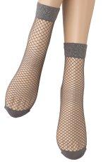 画像4: ショートストッキング(アニマル柄・網・グレー×シルバー)[AYA RETE Socks grey]※2足までメール便対象【送料無料・即日発送】 (4)