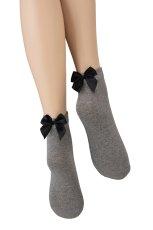 画像6: ショートストッキング(無地・リボン・グレー×ブラック)[FIOCCO COTONE Socks melange]※2足までメール便対象【送料無料・即日発送】 (6)