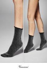 画像2: ショートストッキング(ラメ・ブラック×シルバー)[FLAVIA Socks nero/argento]※2足までメール便対象【送料無料・即日発送】 (2)