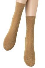 画像4: ショートストッキング(ラメ・ベージュ×ゴールド)[FLAVIA Socks beige]※2足までメール便対象【送料無料・即日発送】 (4)