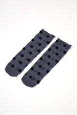 画像6: ショートストッキング(ドット柄・ブルー×ブラック)[KYLIE Socks jeans]※2足までメール便対象【送料無料・即日発送】 (6)