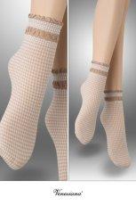 画像2: ショートストッキング(チェック柄・フリル・ベージュ×ホワイト)[LISETTA Socks nude]※2足までメール便対象【送料無料・即日発送】 (2)