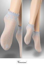 画像2: ショートストッキング(花柄・ブルー)[MONICA Socks blu]※2足までメール便対象【送料無料・即日発送】 (2)