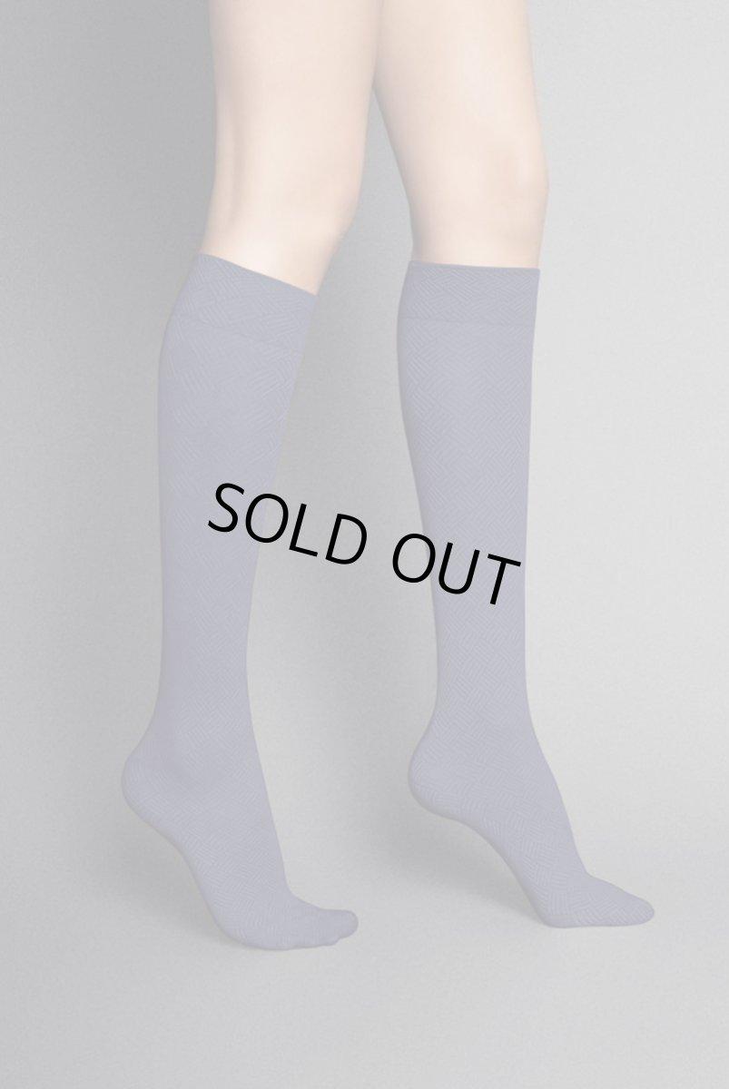 画像1: ハイソックス(ダイヤ柄・バスケットチェック・パープル)[MOSAICO High-Socks violet]※2足までメール便対象【送料無料・即日発送】 (1)