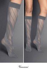 画像2: ハイソックス(ストライプ・グレー×シルバー)[SPIGA LUREX High-Socks grigio-silver]※2足までメール便対象【送料無料・即日発送】 (2)