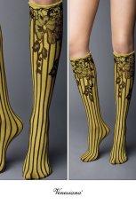 画像2: ハイソックス(花柄・ストライプ・イエロー×ブラック)[YVONNE High-Socks limone-nero]※2足までメール便対象【送料無料・即日発送】 (2)