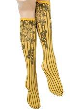 画像6: ハイソックス(花柄・ストライプ・イエロー×ブラック)[YVONNE High-Socks limone-nero]※2足までメール便対象【送料無料・即日発送】 (6)