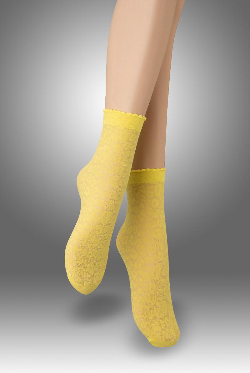 画像1: ショートストッキング(アニマル柄・イエロー)[ANIMAL 20 Socks giallo]※2足までメール便対象【送料無料・即日発送】 (1)