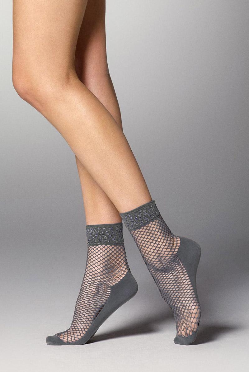 画像1: ショートストッキング(アニマル柄・網・グレー×シルバー)[AYA RETE Socks grey]※2足までメール便対象【送料無料・即日発送】 (1)