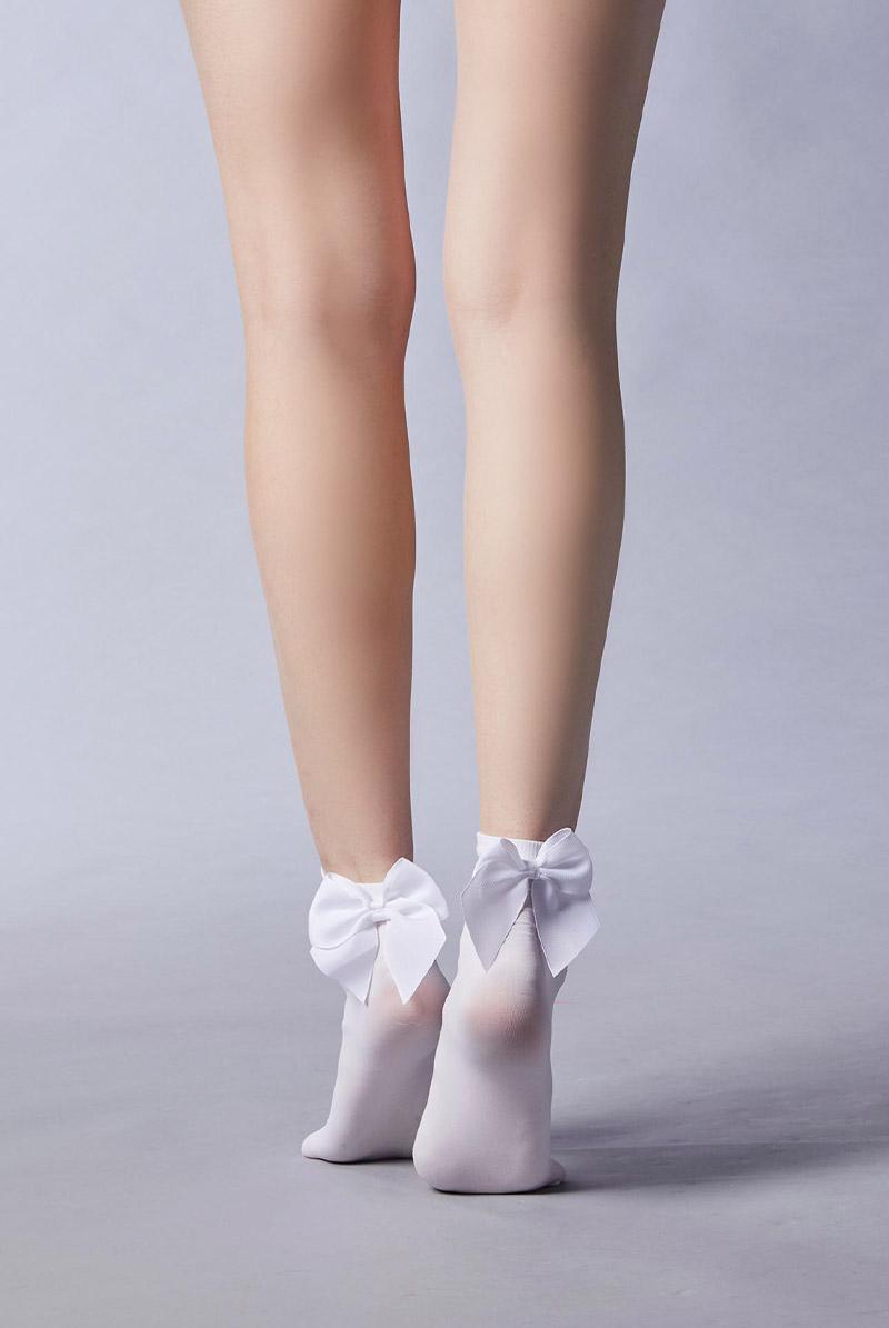 画像1: ショートストッキング(無地・リボン・ホワイト)[FIOCCO Socks bianco]※2足までメール便対象【送料無料・即日発送】 (1)