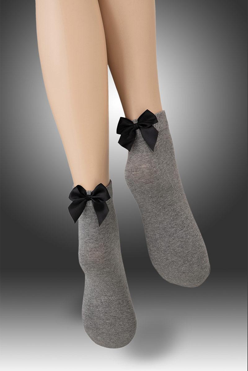 画像1: ショートストッキング(無地・リボン・グレー×ブラック)[FIOCCO COTONE Socks melange]※2足までメール便対象【送料無料・即日発送】 (1)