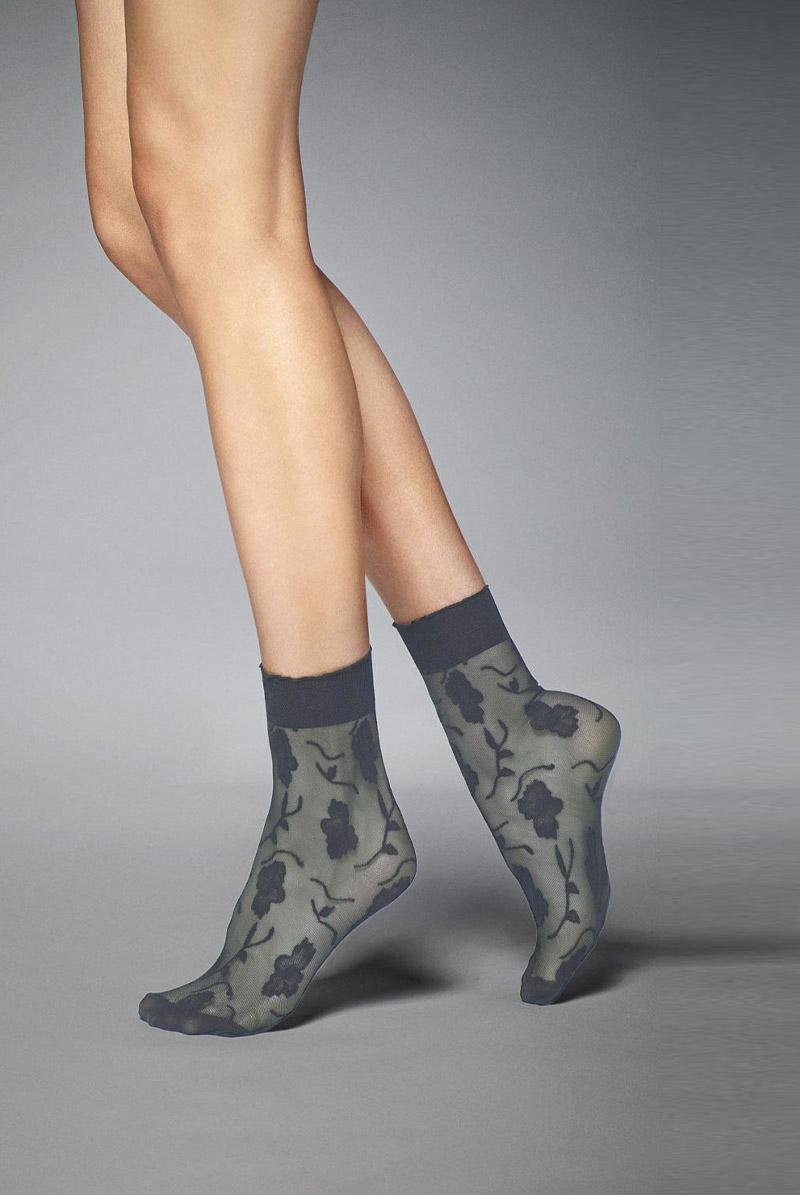 画像1: ショートストッキング(花柄・グレー)[FIORE Socks grey]※2足までメール便対象【送料無料・即日発送】 (1)