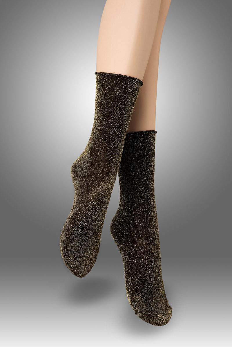 画像1: ショートストッキング(ラメ・ブラック×ゴールド)[FLAVIA Socks nero/lurex]※2足までメール便対象【送料無料・即日発送】 (1)