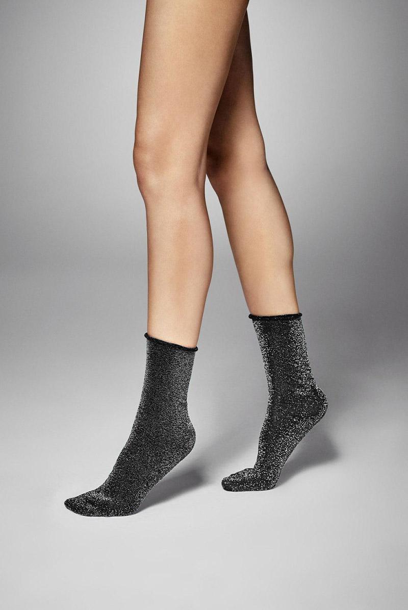 画像1: ショートストッキング(ラメ・ブラック×シルバー)[FLAVIA Socks nero/argento]※2足までメール便対象【送料無料・即日発送】 (1)