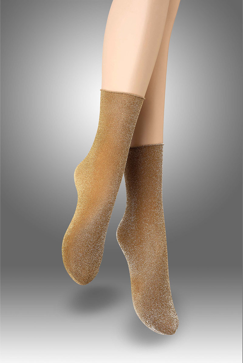 画像1: ショートストッキング(ラメ・ベージュ×ゴールド)[FLAVIA Socks beige]※2足までメール便対象【送料無料・即日発送】 (1)