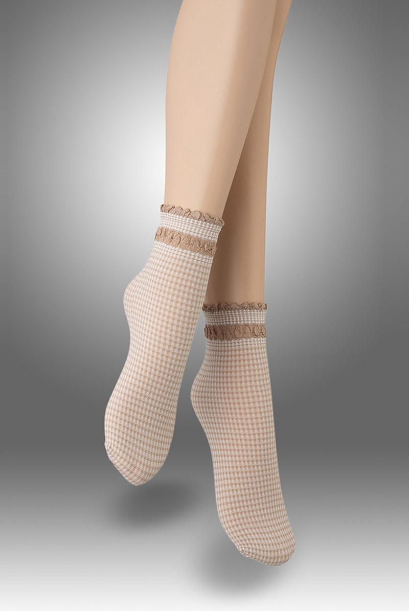 画像1: ショートストッキング(チェック柄・フリル・ベージュ×ホワイト)[LISETTA Socks nude]※2足までメール便対象【送料無料・即日発送】 (1)