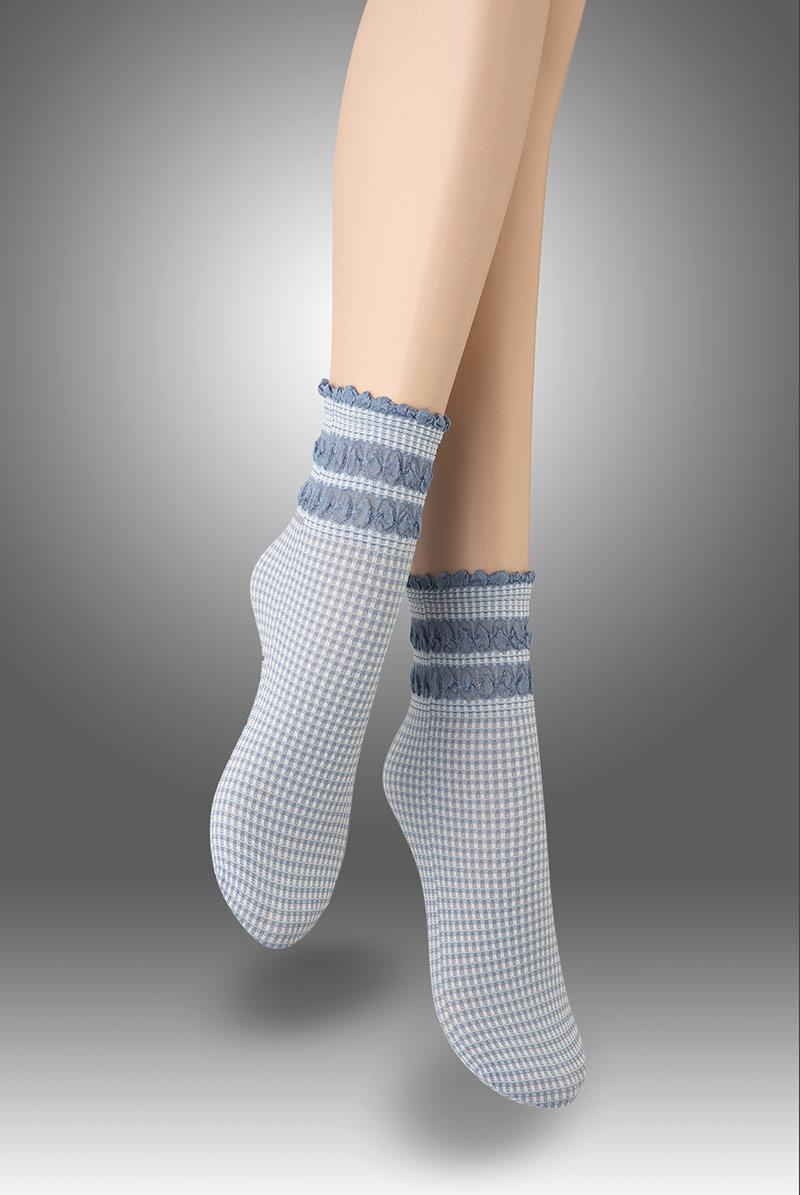 画像1: ショートストッキング(チェック柄・フリル・ブルー×ホワイト)[LISETTA Socks jeans]※2足までメール便対象【送料無料・即日発送】 (1)