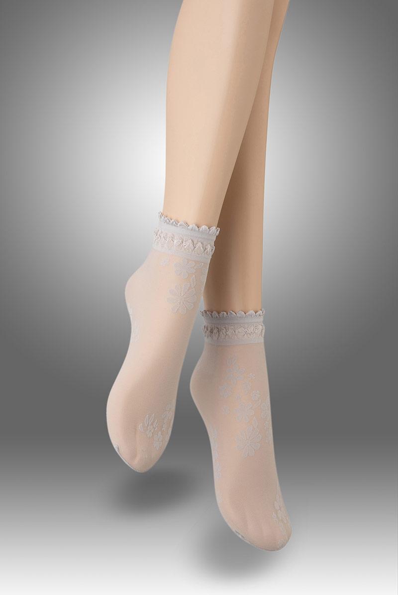 画像1: ショートストッキング(花柄・グレー)[MAXIMA Socks argento]※2足までメール便対象【送料無料・即日発送】 (1)