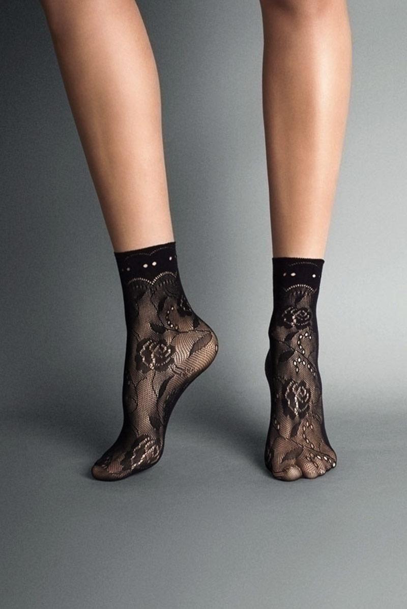 画像1: ショートストッキング(花柄・網・ブラック)[MILANO Socks nero]※2足までメール便対象【送料無料・即日発送】 (1)