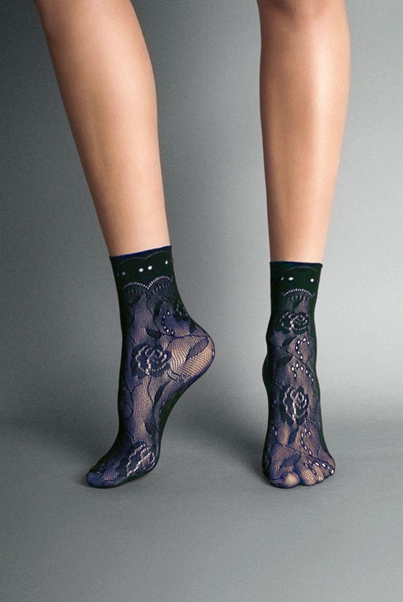 画像1: ショートストッキング(花柄・網・ネイビー)[MILANO Socks marine]※2足までメール便対象【送料無料・即日発送】 (1)