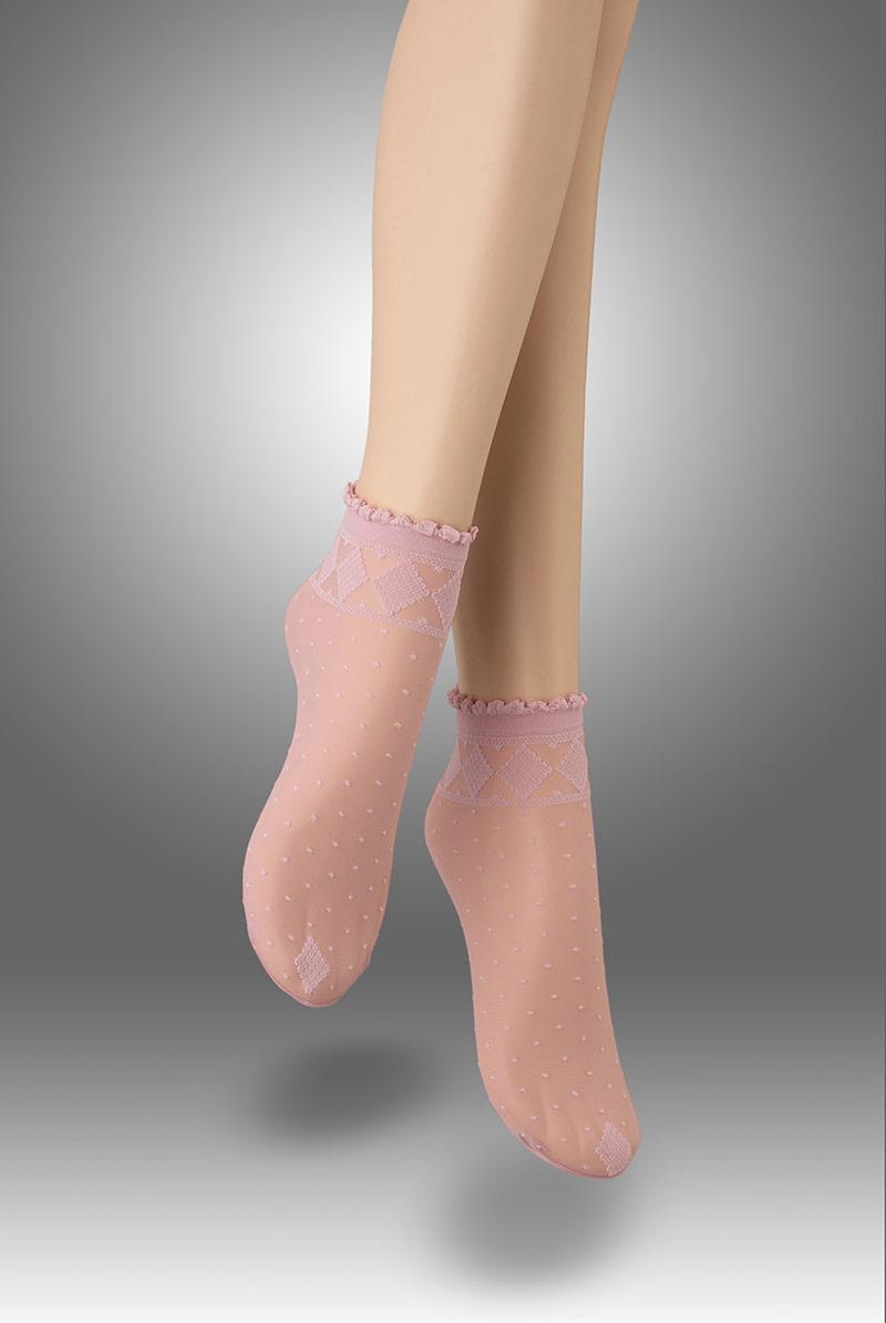 画像1: ショートストッキング(花柄・ピンク)[MONICA Socks rosa]※2足までメール便対象【送料無料・即日発送】 (1)