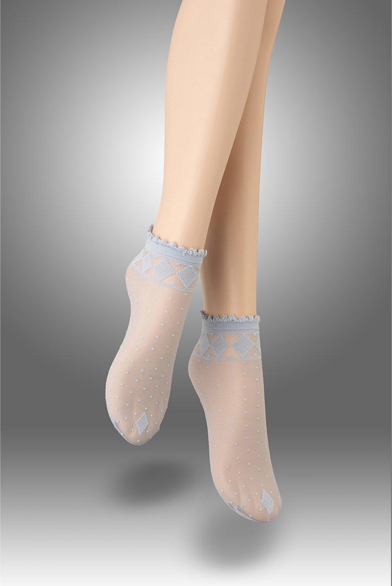画像1: ショートストッキング(花柄・ブルー)[MONICA Socks blu]※2足までメール便対象【送料無料・即日発送】 (1)