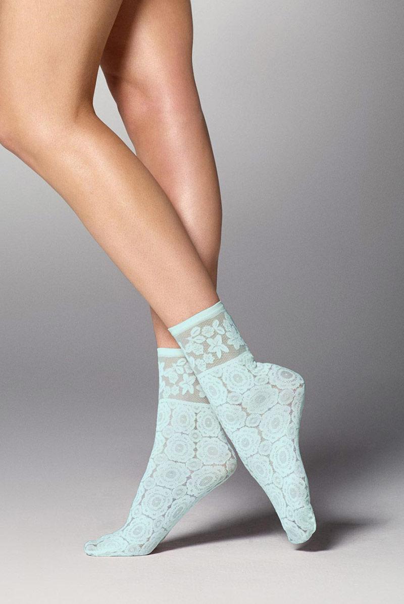 画像1: ショートストッキング(花柄・水色)[SALMA Socks menta]※2足までメール便対象【送料無料・即日発送】 (1)