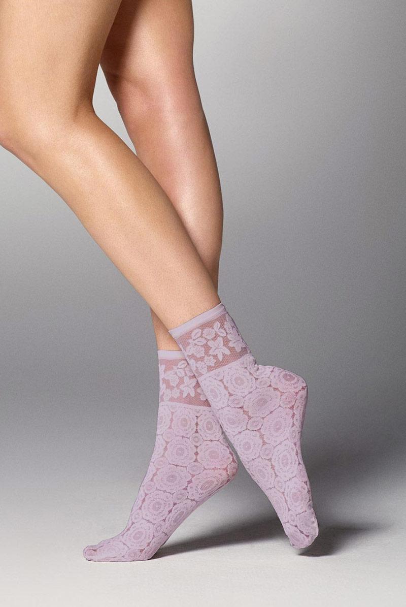 画像1: ショートストッキング(花柄・ラベンダー)[SALMA Socks lilla]※2足までメール便対象【送料無料・即日発送】 (1)