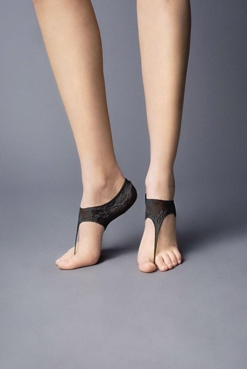 画像1: フットカバー(レース柄・足袋風・ブラック)[JAPANESSE Foot nero]※2足までメール便対象【送料無料・即日発送】 (1)