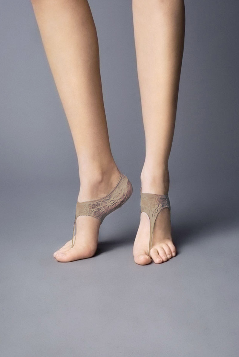 画像1: フットカバー(レース柄・足袋風・ベージュ)[JAPANESSE Foot beige]※2足までメール便対象【送料無料・即日発送】 (1)