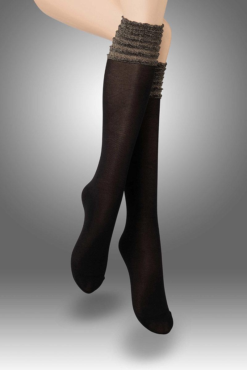 画像1: ハイソックス(フリル・ラメ・ブラック×ゴールド)[CIRCUS High-Socks nero]※2足までメール便対象【送料無料・即日発送】 (1)