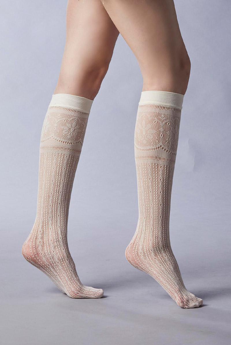 画像1: ハイソックス(レース編み・オフホワイト)[BONITA High-Socks panna]※2足までメール便対象【送料無料・即日発送】 (1)