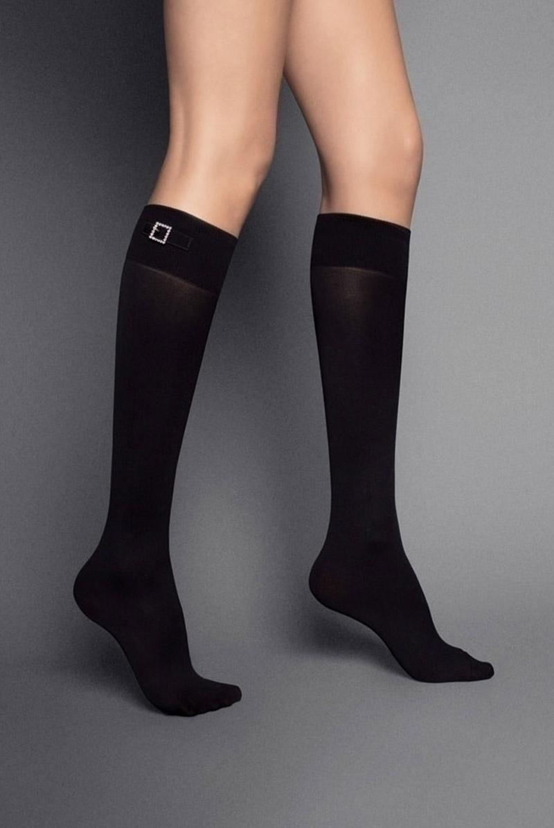 画像1: ハイソックス(無地・ビジュー・ブラック)[FIBBIA STRASS High-Socks nero]※2足までメール便対象【送料無料・即日発送】 (1)