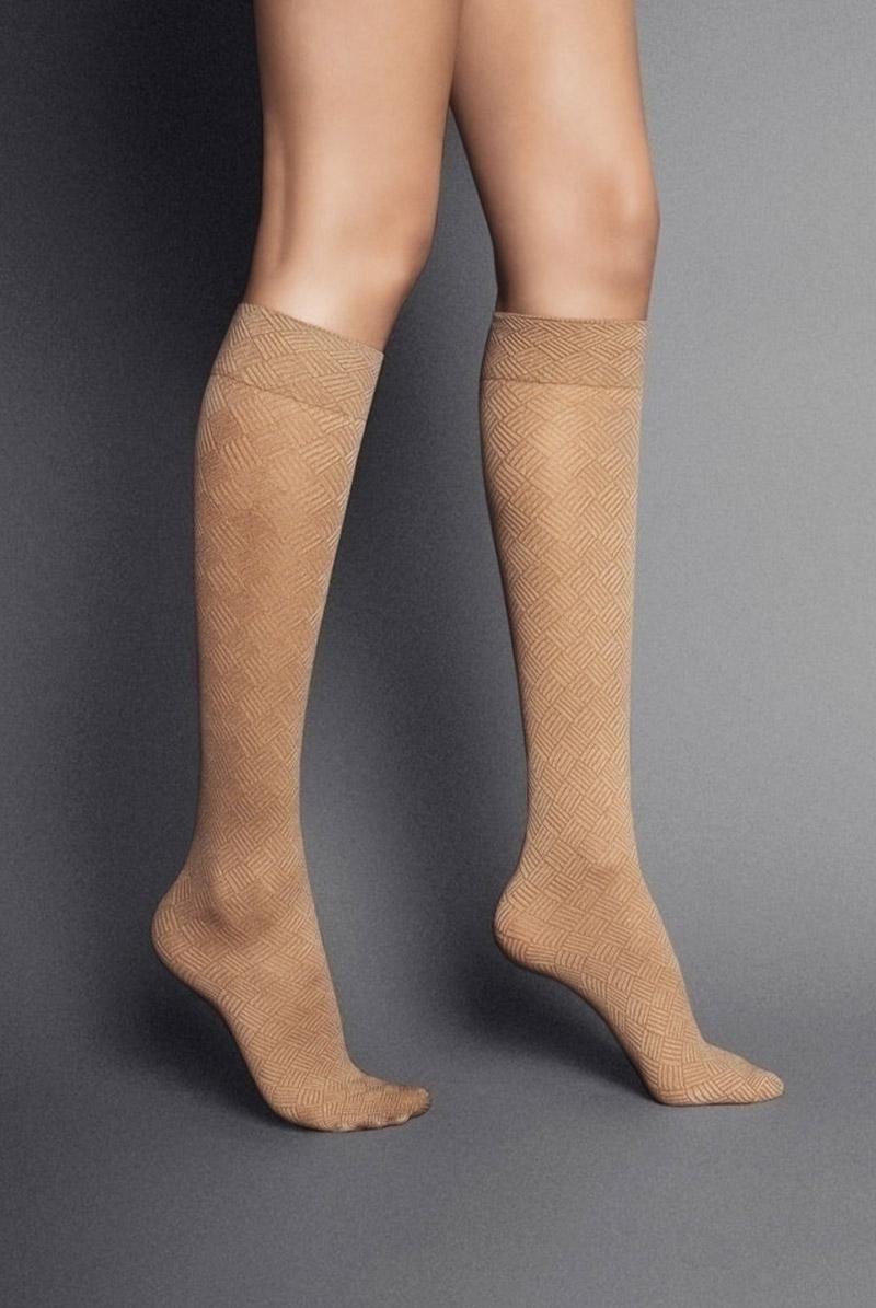 画像1: ハイソックス(ダイヤ柄・バスケットチェック・ベージュ)[MOSAICO High-Socks visone]※2足までメール便対象【送料無料・即日発送】 (1)
