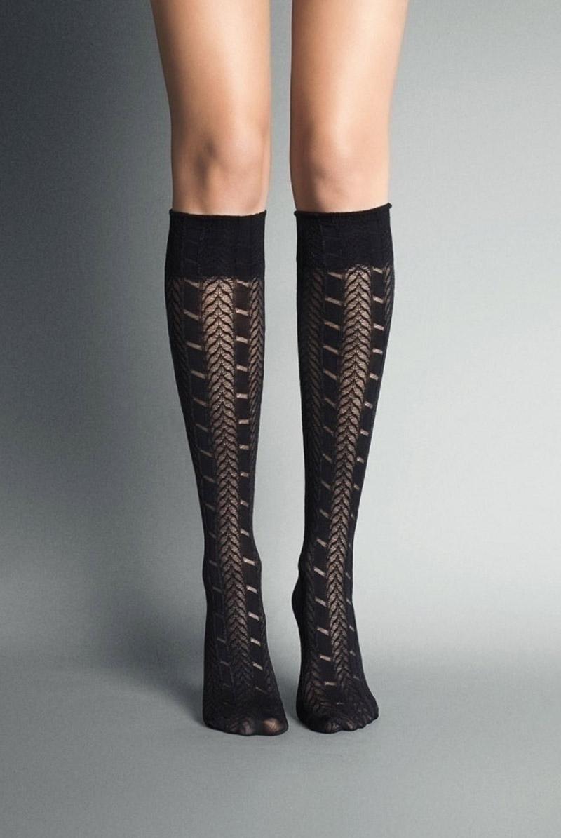 画像1: ハイソックス(ストライプ・メッシュ・ブラック)[PETRA High-Socks nero]※2足までメール便対象【送料無料・即日発送】 (1)