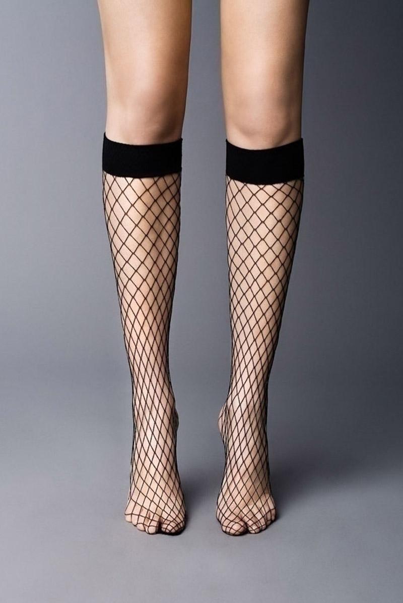 画像1: ハイソックス(網・ブラック)[RETE GRANDI High-Socks nero]※2足までメール便対象【送料無料・即日発送】 (1)