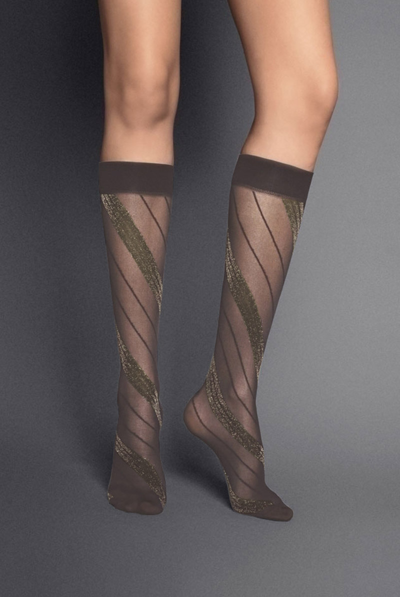 画像1: ハイソックス(ストライプ・ブラウン×ゴールド)[SPIGA LUREX High-Socks cappucino]※2足までメール便対象【送料無料・即日発送】 (1)